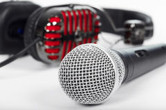Microphone and headphones Stock Images