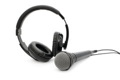 Microphone and headphones with wires Royalty Free Stock Photos