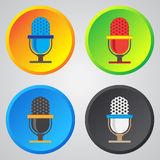 Microphone icon, classic microphone symbol on color background Stock Photos
