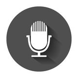 Microphone icon. Flat vector illustration with long shadow stock illustration