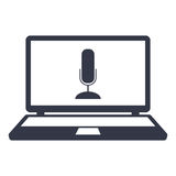 Microphone icon on the screen laptop Stock Photography