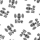 Microphone icon seamless pattern background. Live broadcast vector illustration on white isolated background. Sound record royalty free illustration