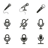 Microphone icon set. Microphone vector icons set. Black illustration isolated on white background for graphic and web design royalty free illustration