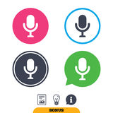 Microphone icon. Speaker symbol. Live music sign. Royalty Free Stock Photos