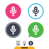 Microphone icon. Speaker symbol. Paid music sign. Stock Images