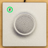 Microphone icon switch, and loudspeaker on wood background for c Stock Photography