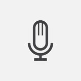 Microphone icon, vector logo, linear pictogram isolated on white, pixel perfect illustration. Stock Photos