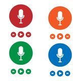 Microphone icons on color background. Vector illustration vector illustration