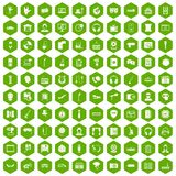100 microphone icons hexagon green. 100 microphone icons set in green hexagon isolated vector illustration Royalty Free Stock Images
