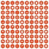100 microphone icons hexagon orange. 100 microphone icons set in orange hexagon isolated vector illustration royalty free illustration