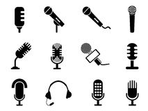 Microphone icons set. Isolated black microphone icons set from white background Stock Photography