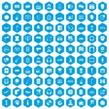 100 microphone icons set blue. 100 microphone icons set in blue hexagon isolated vector illustration Vector Illustration