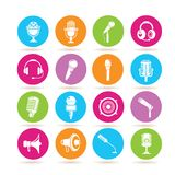 Microphone icons. Set of 16 microphone icons in colorful buttons Royalty Free Stock Photography