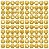 100 microphone icons set gold. 100 microphone icons set in gold circle isolated on white vector illustration royalty free illustration