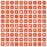 100 microphone icons set grunge orange. 100 microphone icons set in grunge style orange color isolated on white background vector illustration Stock Photography