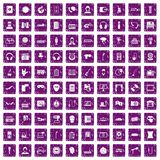 100 microphone icons set grunge purple Stock Images