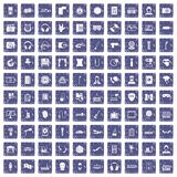 100 microphone icons set grunge sapphire. 100 microphone icons set in grunge style sapphire color isolated on white background vector illustration Royalty Free Stock Images