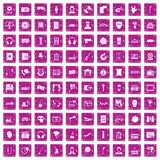 100 microphone icons set grunge pink. 100 microphone icons set in grunge style pink color isolated on white background vector illustration Stock Photos