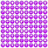 100 microphone icons set purple. 100 microphone icons set in purple circle isolated on white vector illustration Stock Photography