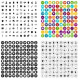 100 microphone icons set vector variant. 100 microphone icons set vector in 4 variant for any web design isolated on white Stock Images