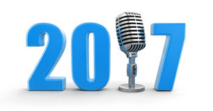 Microphone with 2017. Image with clipping path Stock Photo