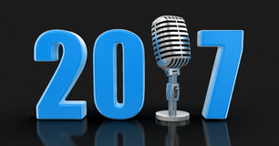 Microphone with 2017. Image with clipping path Royalty Free Stock Images