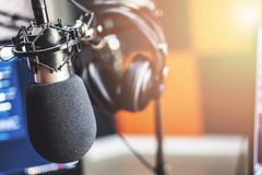 Free Microphone In Radio Studio Stock Images - 130719104