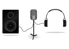 Microphone for input Sound. Speaker for send Sound to many people. HeadPhone  for send sound to personal. Stock Photography