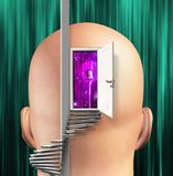 Microphone inside mind. Spiral stair and door. Human elements were created with 3D software and are not from any actual human likenesses stock illustration