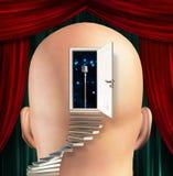 Microphone inside mind. Steps lead to microphone inside mind stock illustration