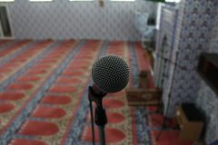 Microphone.Interior of the mosque. royalty free stock image