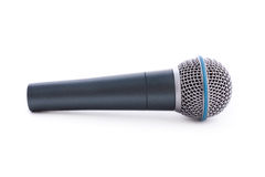 Microphone isolated. Close up shot of microphone isolated on white royalty free stock photos
