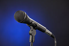 Microphone Isolated on Blue Royalty Free Stock Photos