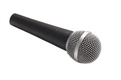 Microphone isolated over white. Modern microphone isolated over white stock photography