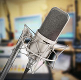 Microphone isolated in the studio. Stock Photo