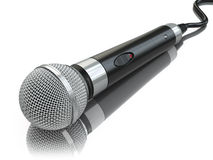Microphone isolated on white. Caraoke or news concept. Stock Photography