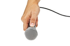 Microphone for Karaoke and hand Stock Photo