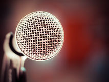 Microphone in karaoke room or conference room Stock Image
