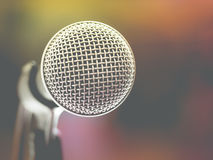 Microphone in karaoke room or conference room Stock Images