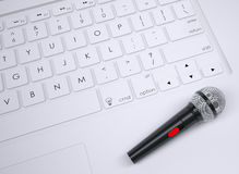 Microphone on the keyboard Stock Images