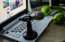 Microphone On Laptop stock image
