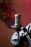 Microphone large diaphragm condenser. Picture of microphone large diaphragm condenser in recording studio Royalty Free Stock Photo