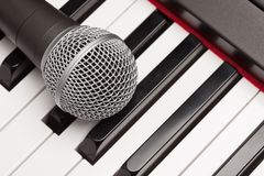 Microphone Laying on Electronic Synthesizer Keyboard Abstract Royalty Free Stock Images