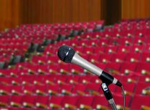 Microphone in  Lecture Hall. Image of Microphone in  Lecture Hall Royalty Free Stock Photo