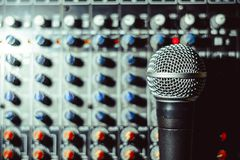 The microphone lies on the mixer Royalty Free Stock Photos