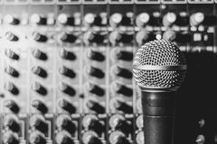 The microphone lies on the mixer Royalty Free Stock Image