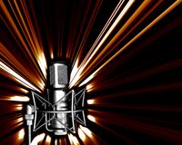 Microphone with a light explos. Illustration of microphone in black and white and light explosion Royalty Free Stock Photography