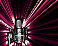 Microphone with a light explos. Illustration of microphone in black and white and light explosion Stock Photography