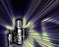 Microphone with a light explos. Illustration of microphone in black and white and light explosion in some kind of disco or pop style royalty free illustration