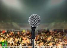 Microphone in live concert. At night Royalty Free Stock Photo